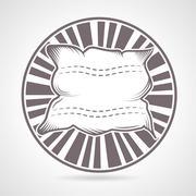 Gray round badge for pillow - stock illustration