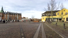 Town square with beautiful cobblestones Stock Footage