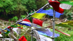 HD: Buddhist prayer flags blowing in the wind, 1920x1080 Stock Footage
