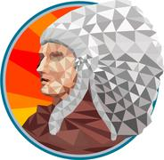 Native American Indian Chief Warrior Low Polygon Stock Illustration
