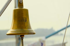 Vintage beautiful ship bell with rope, boat gong, nautical decor Stock Footage