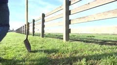 ranching on the land, rancher walking - stock footage