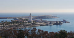 Malaga sunny day walking bay lighthouse 4k Stock Footage