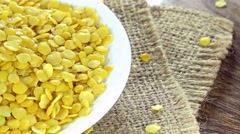 Portion of Yellow Lentils (not loopable) Stock Footage