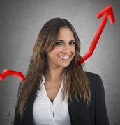 Optimistic businesswoman - stock photo