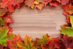 Border of fall maple leaves on wood Stock Photos