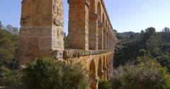 Tarragona puente del diablo bridge side view 4k spain Stock Footage