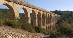 tarragona puente del diablo bridge panorama 4k spain - stock footage