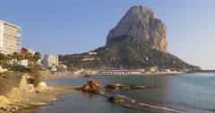 Stock Video Footage of cozy sea town 4k calpe panorama