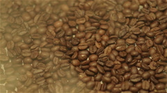 Close-Up Steamy Coffee Beans  Stock Footage