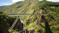 Time lapse over San Francisco bridge, Banos Ecuador, group of tourist gather for Stock Footage