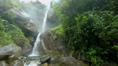 Machay waterfall lower and upper, static shot Stock Footage