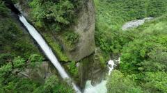 Pailon del Diablo waterfall in Ecuadorian Andes, resolution, super-wide shot Stock Footage