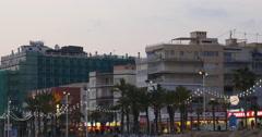 Sunset evening lights bay of benidorm 4k Stock Footage