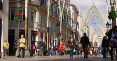 Malaga city crowded main street view 4k Stock Footage