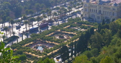 Malaga university garden and traffic road 4k Stock Footage