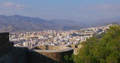 Malaga sunny day gibralfaro castle city panorama view 4k Stock Footage