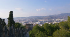 Malaga sunny day city gibralfaro castle panorama view 4k Stock Footage