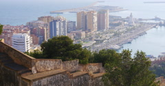 Malaga day light city gibralfaro castle coast bay view 4k Stock Footage