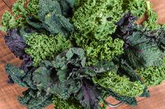 Red and green kale arrangement - stock photo