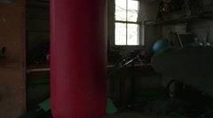 3034 Man Boxer Kicking at Punching Bag Training for Fight in Slow Motion - stock footage