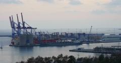 Malaga sunset working port 4k Stock Footage