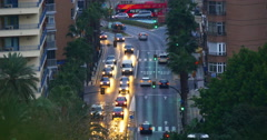Malaga sunset traffic street bay 4k Stock Footage