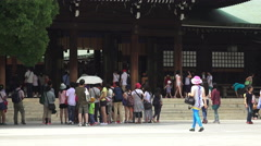 Stock Video Footage of Crowds Gather At The Meiji Jingu Shrine