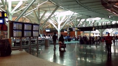 Passangers long line up for waiting check in counter at YVR airport Stock Footage