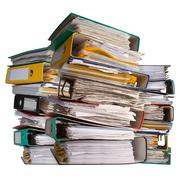Piles of file binder with documents Stock Photos