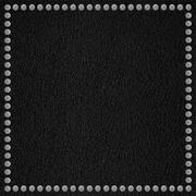 black leather background with rivet border - stock photo