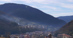 Ribes de freser morning mountain city panoramic view 4k spain Stock Footage