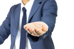 Businessman Open Palm Hand Gesture on Plump Style Isolated on White Backgroun Stock Photos