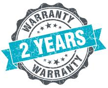 2 years warranty vintage turquoise seal isolated on white - stock illustration