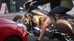 People on motorcycle Stock Footage