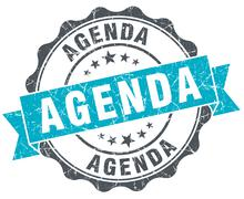 agenda vintage turquoise seal isolated on white - stock illustration
