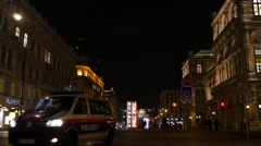 Police Car in Center of Vienna Stock Footage