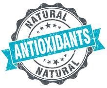antioxidants vintage turquoise seal isolated on white - stock illustration
