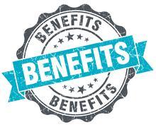 benefits vintage turquoise seal isolated on white - stock illustration