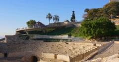 Amphitheatre of tarragona port side road 4k spain Stock Footage