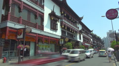 Timelapse traffic street old town traditional building Shanghai tourism emblem   Stock Footage