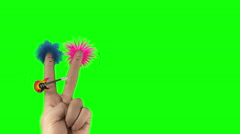 Shaggy punk hair finger man sing love song. Valentines day joke. Isolate Stock Footage