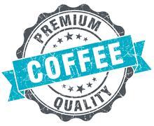 coffee premium quality vintage turquoise seal isolated on white - stock illustration
