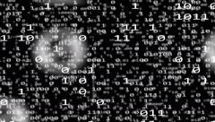 4k UHD binary internet data code 3d flight BW 11602 Stock Footage