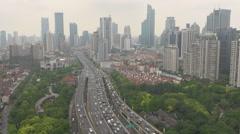 Aerial view heavy traffic car freeway street Shanghai busy avenue bustling icon Stock Footage