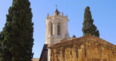 Tarragona cathedral sun light backside 4k spain Stock Footage