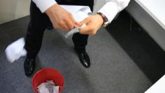 Businessman tearing and trashing papers with anger Stock Footage