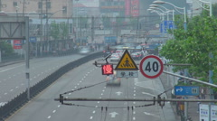 Timelapse Shanghai freeway traffic people commute travel pollution smog asian  Stock Footage
