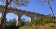 tarragona puente del diablo bridge hill 4k spain - stock footage