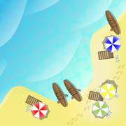 Illustration of beach with sea, boats and parasols Stock Illustration